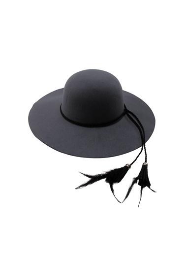 Laslusa İçten Ayarlanabilir Geniş Kenar Keçe Şapka Gri